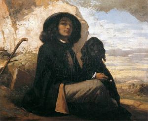 Self-portrait with Black dog by Gustave Courbet