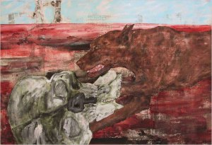 Dog and Skull by Leon Golub