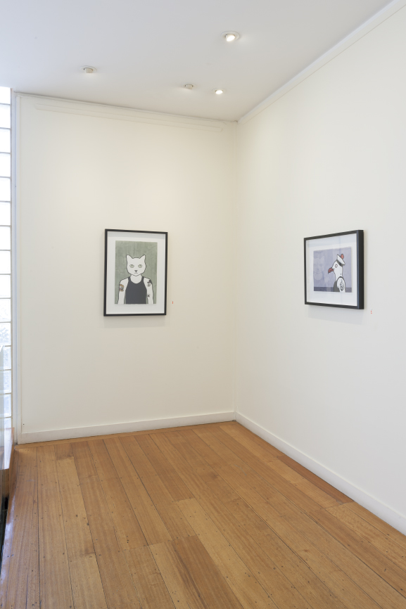 'Latti', 2010 and 'Poor Tom', 2013, hand coloured linocuts by Rona Green