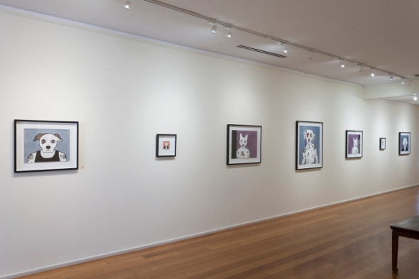 By Rona Green: 'Archie', 2012, hand coloured linocut; 'The Baron of G block', 2013, pen and ink drawing; 'Borislav', 'Lazer' and 'Leonty', 2013, hand coloured linocuts; 'Party Pie', 2013, pen and ink drawing; 'Nekromancer', 2012, hand coloured linocut