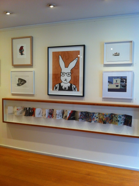 A kooky rabbit named Vilém The Villain, by yours truly, on exhibition as part of the group show 'One of each' at Australian Galleries, Melbourne.