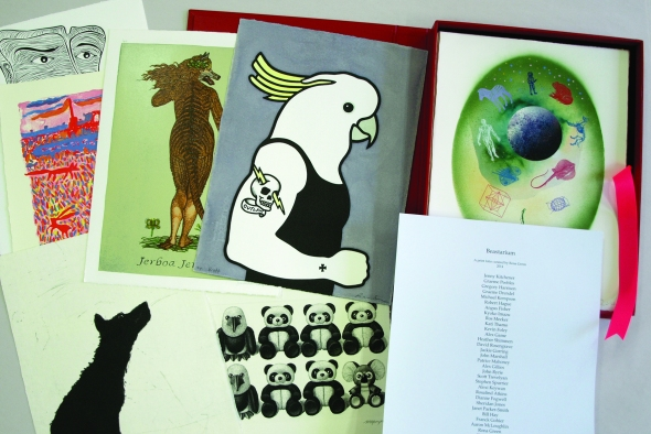 Beastarium: a print exchange folio by 40 artists curated by Rona Green in 2014. Clockwise from bottom right: colophon and prints by Michael Kempson, Deborah Williams, Sue Anderson, Bill Hay, Jazmina Cininas, Rona Green and Stephen Spurrier - Dubbo Regional Gallery Art Collection